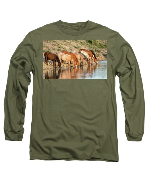 Lineup At The Pond-- Wild Horses Long Sleeve T-Shirt