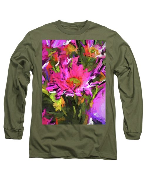 Lolly Pink Daisy Flower Long Sleeve T-Shirt