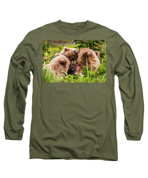 Mama Bear Nursing Her Two Cubs, Lake Clark National Park, Alaska Long Sleeve T-Shirt