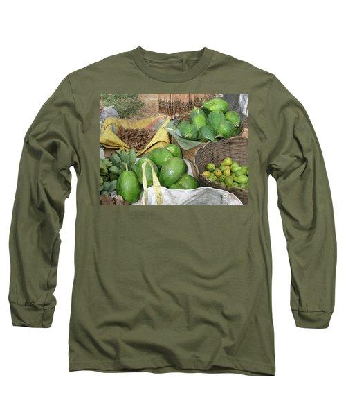 Mangos, Turmeric And Green Bananas  Long Sleeve T-Shirt