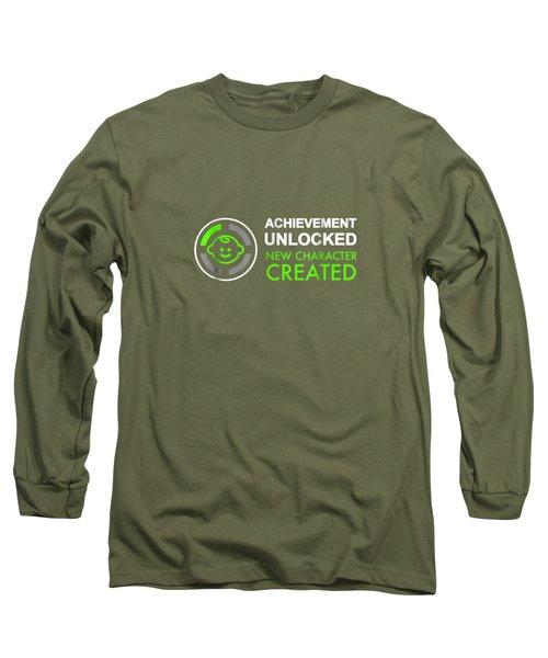 Mens 1st Fathers Day Gifts, Achievement Unlocked Fatherhood Shirt Long Sleeve T-Shirt