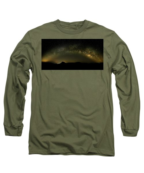 Milky Way Arch Panorama Over Tianping Mountain And Ridge-line Long Sleeve T-Shirt