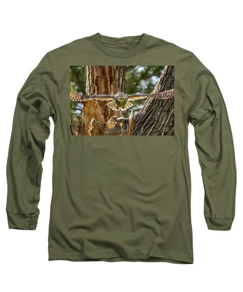 Momma Great Horned Owl Blasting Out Of The Nest Long Sleeve T-Shirt