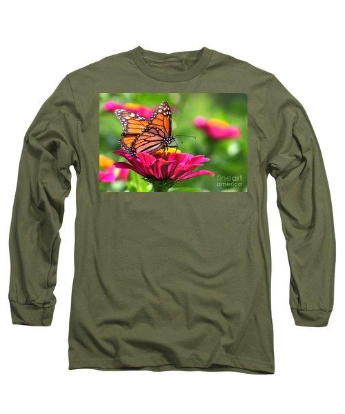 Monarch Visiting Zinnia Long Sleeve T-Shirt