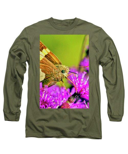 Moth On Purple Flower Long Sleeve T-Shirt