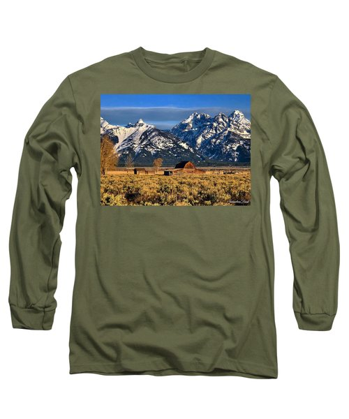 Long Sleeve T-Shirt featuring the photograph Moulton Barn Grand Tetons by Jacqueline Faust