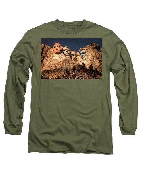 Mount Rushmore Red And Blue Drawing Long Sleeve T-Shirt