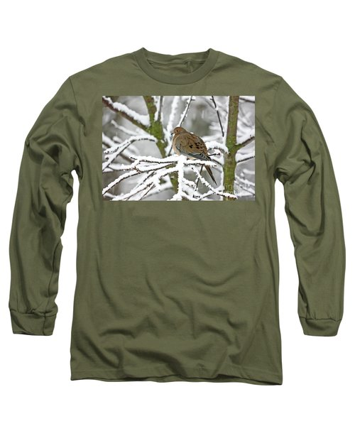 Mourning Dove In Snowstorm Long Sleeve T-Shirt