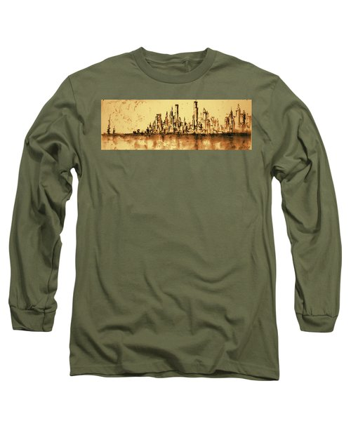 New York City Skyline 79 - Water Color Drawing Long Sleeve T-Shirt