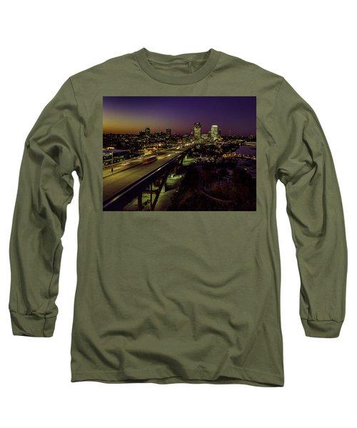 Long Sleeve T-Shirt featuring the photograph Nightfall In Milwaukee by Randy Scherkenbach