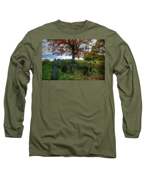 Long Sleeve T-Shirt featuring the photograph Old Hill Burying Ground In Autumn by Wayne Marshall Chase
