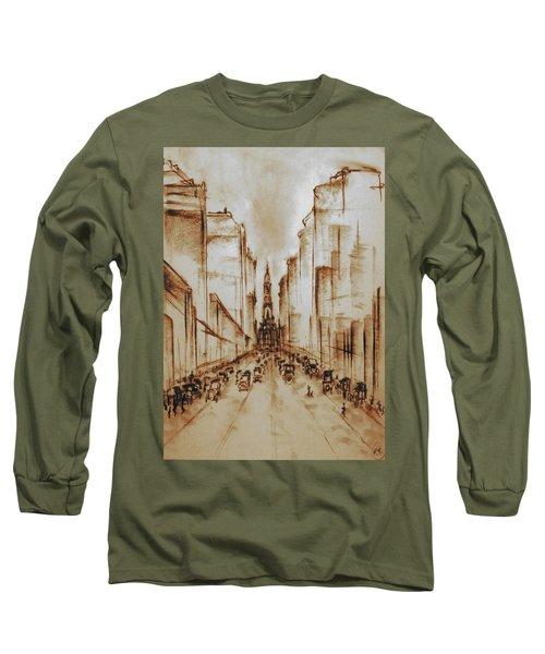 Old Philadelphia City Hall 1920 - Pencil Drawing Long Sleeve T-Shirt