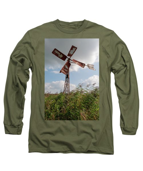 Long Sleeve T-Shirt featuring the photograph Old Rusty Windmill. by Anjo Ten Kate