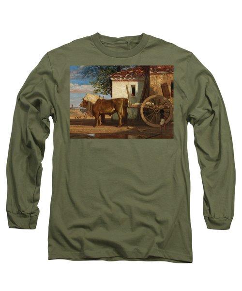 Oxen Before A Farmhouse At Le Verrier, 1853 Long Sleeve T-Shirt