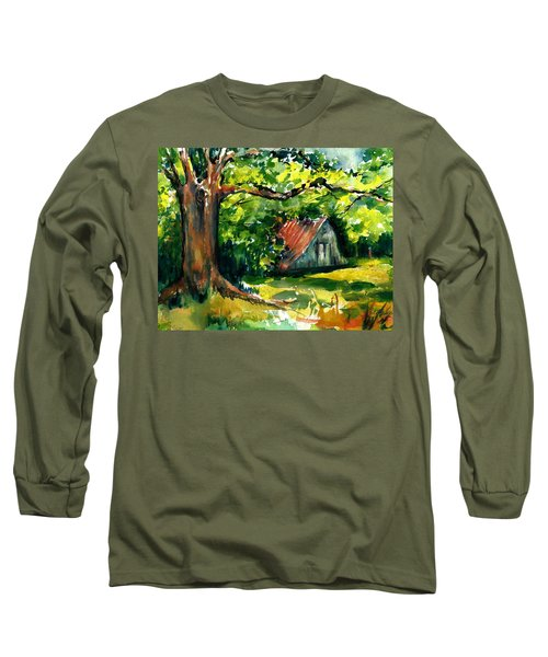 Ozarks Barn In Boxley Valley - Late Summer Long Sleeve T-Shirt