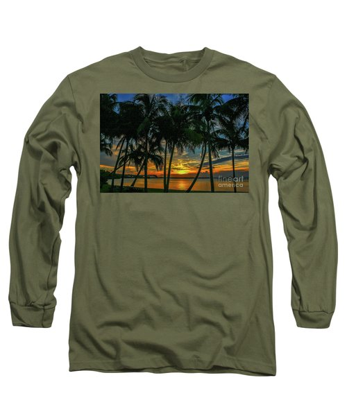 Palm Tree Lagoon Sunrise Long Sleeve T-Shirt