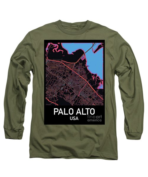 Palo Alto City Map Long Sleeve T-Shirt