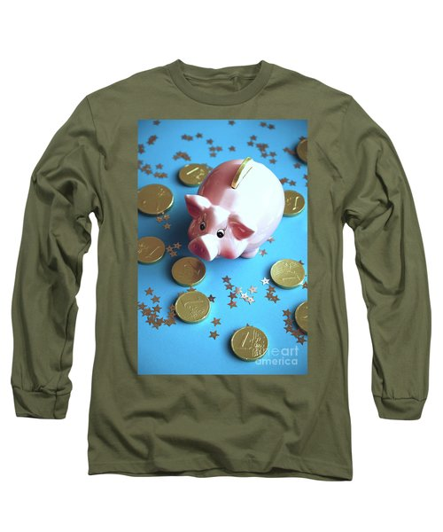 Piggy Bank On The Background With The  Chocoladen Coins Long Sleeve T-Shirt