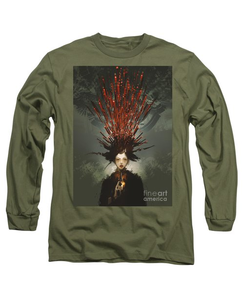 Long Sleeve T-Shirt featuring the painting Prey With A Gun by Tithi Luadthong