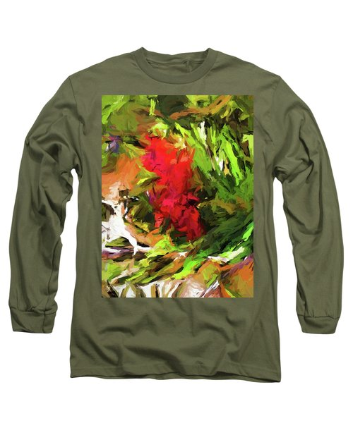Red Flower On The Branch Long Sleeve T-Shirt