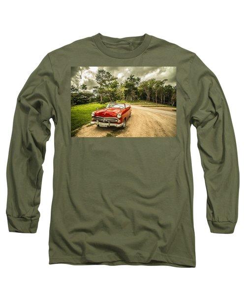 Red Vintage Car Long Sleeve T-Shirt