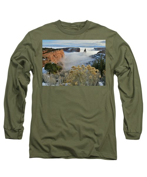 Rim Rock Drive View Of Fogged Independence Canyon Long Sleeve T-Shirt