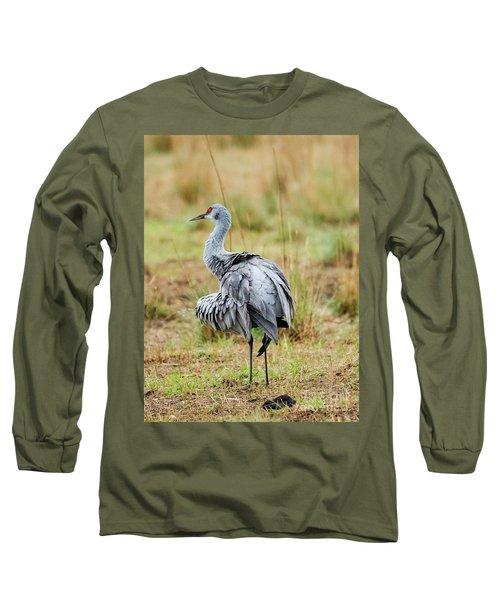 Ruffled Crane Long Sleeve T-Shirt