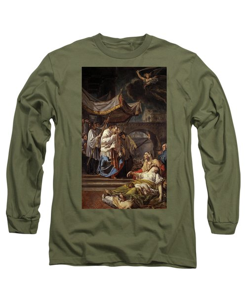 Saint Charles Borromeo Bringing The Assistance Of Religion To The Plague Victims Of Milan, 1785 Long Sleeve T-Shirt