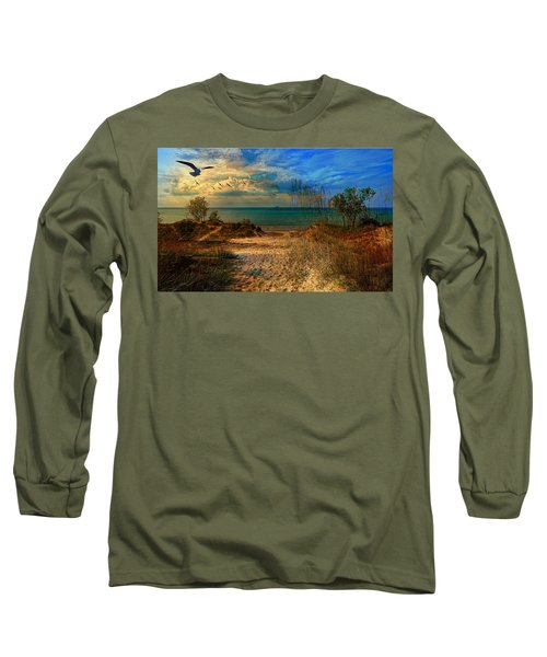 Sand Track To The Ocean At Dusk Long Sleeve T-Shirt