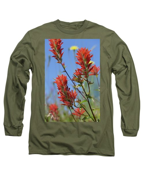 Scarlet Indian Paintbrush At Mount St. Helens National Volcanic  Long Sleeve T-Shirt