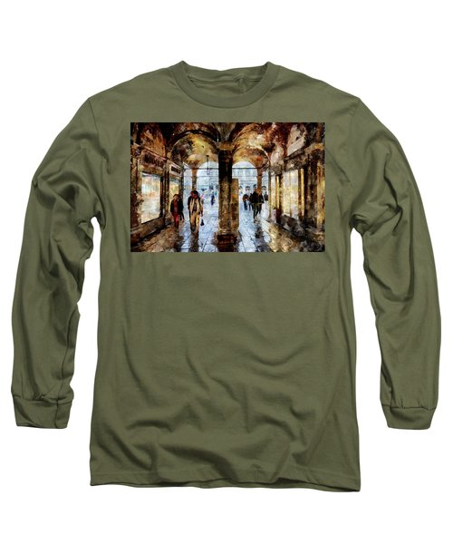 Shopping Area Of Saint Mark Square In Venice, Italy - Watercolor Effect Long Sleeve T-Shirt