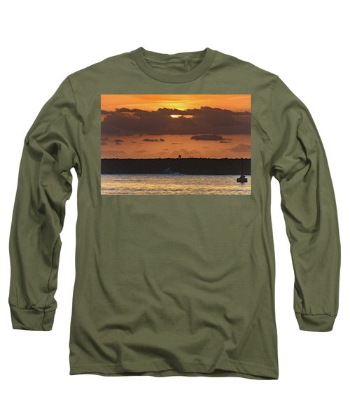 Silhouettes, Breakwall And Sunrise Seascape Long Sleeve T-Shirt