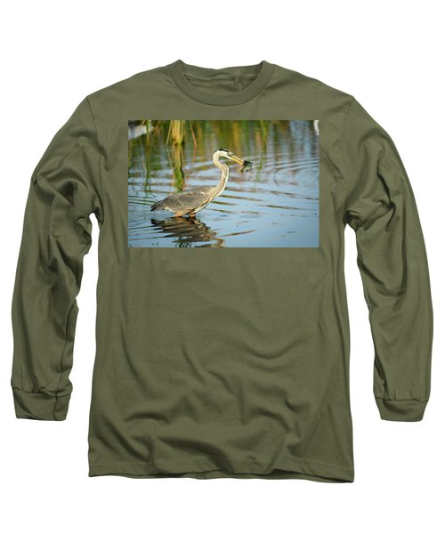 Snack Time For Blue Heron Long Sleeve T-Shirt