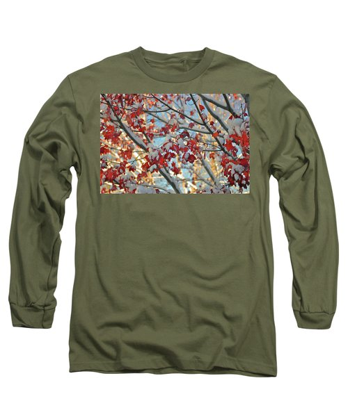Snow On Maple Leaves Long Sleeve T-Shirt