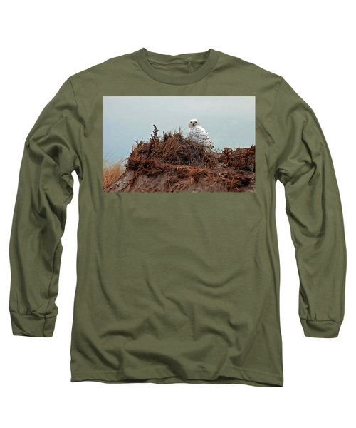 Long Sleeve T-Shirt featuring the photograph Snowy Owl In The Dunes by Wayne Marshall Chase