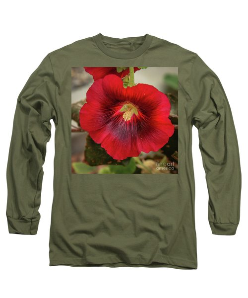 Square Red Hollyhock Long Sleeve T-Shirt
