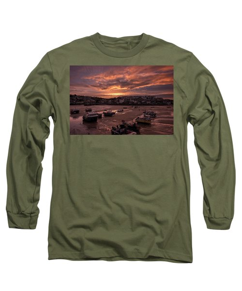St Ives Cornwall - Harbour Sunset Long Sleeve T-Shirt