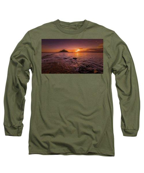 St Michael's Mount - January Sunset Long Sleeve T-Shirt