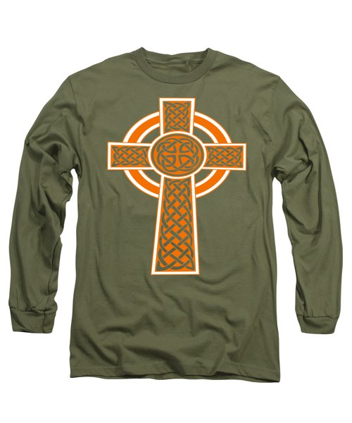 St Patrick's Day Celtic Cross Orange And White Long Sleeve T-Shirt