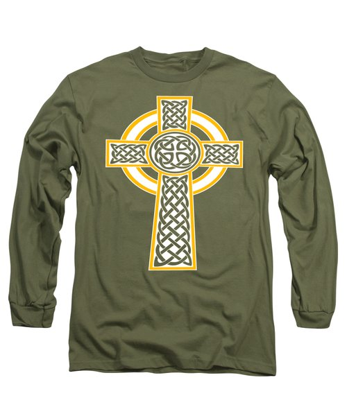 St Patrick's Day Celtic Cross White And Orange Long Sleeve T-Shirt