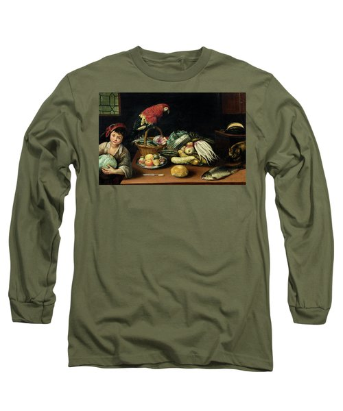 Still Life With Fruit, Parrot, Fish And Vegetables Long Sleeve T-Shirt