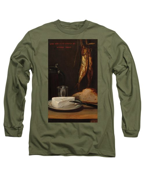 Still Life With Herring, Bread, And Cheese, 1858 Long Sleeve T-Shirt