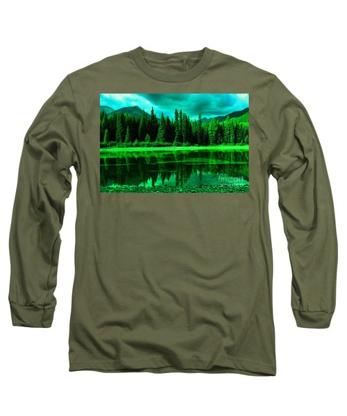 Stillwater Reflecting Trees And Mountains Long Sleeve T-Shirt