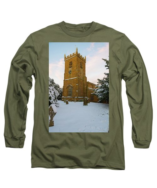 Stone Church In The Snow At Sunset Long Sleeve T-Shirt
