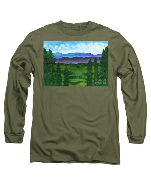 View From A Mountain Slope To Distant Mountains And Forests Long Sleeve T-Shirt