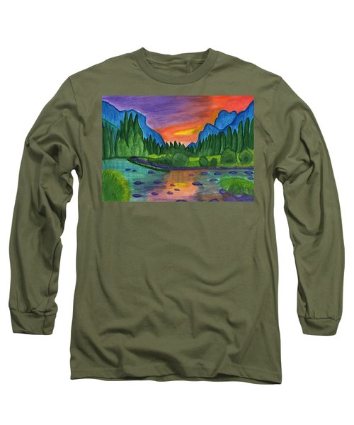 Mountain River In The Background Of The Forest And The Blue Mountains At Sunset Long Sleeve T-Shirt
