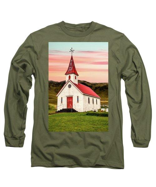 Sunset Chapel Of Iceland Long Sleeve T-Shirt
