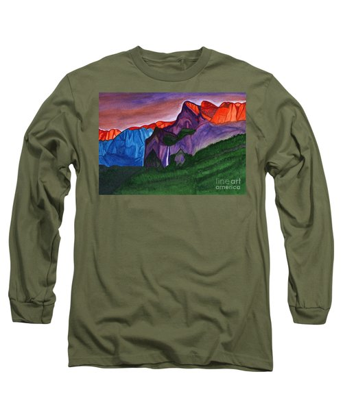 Snowy Peaks Of The Mountains With A Waterfall Lit Up By The Orange Dawn Long Sleeve T-Shirt