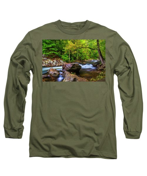 Long Sleeve T-Shirt featuring the photograph Tellico River Serenity by Andy Crawford