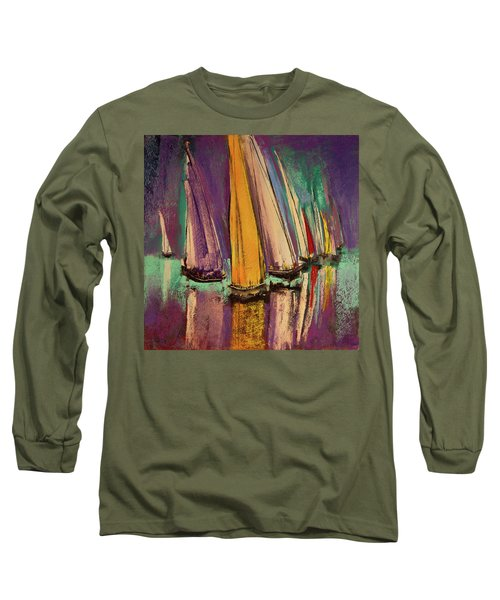 Long Sleeve T-Shirt featuring the pastel The Race by David Patterson